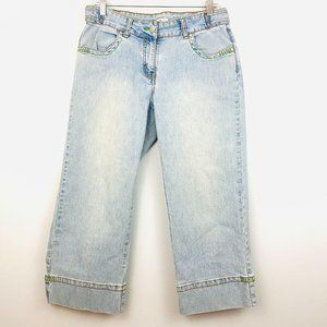 CAbi 251 Cropped Light Blue Distressed Jeans